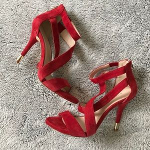 BCBGeneration Red Suede Strappy Sandals